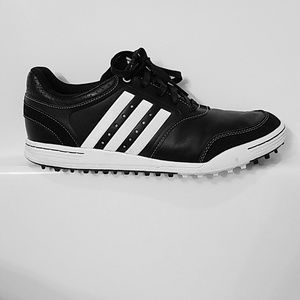Adidas black and white leather sneakers
